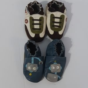 2 Pairs Boy Robeez Baby Infant shoes 12 -18 months